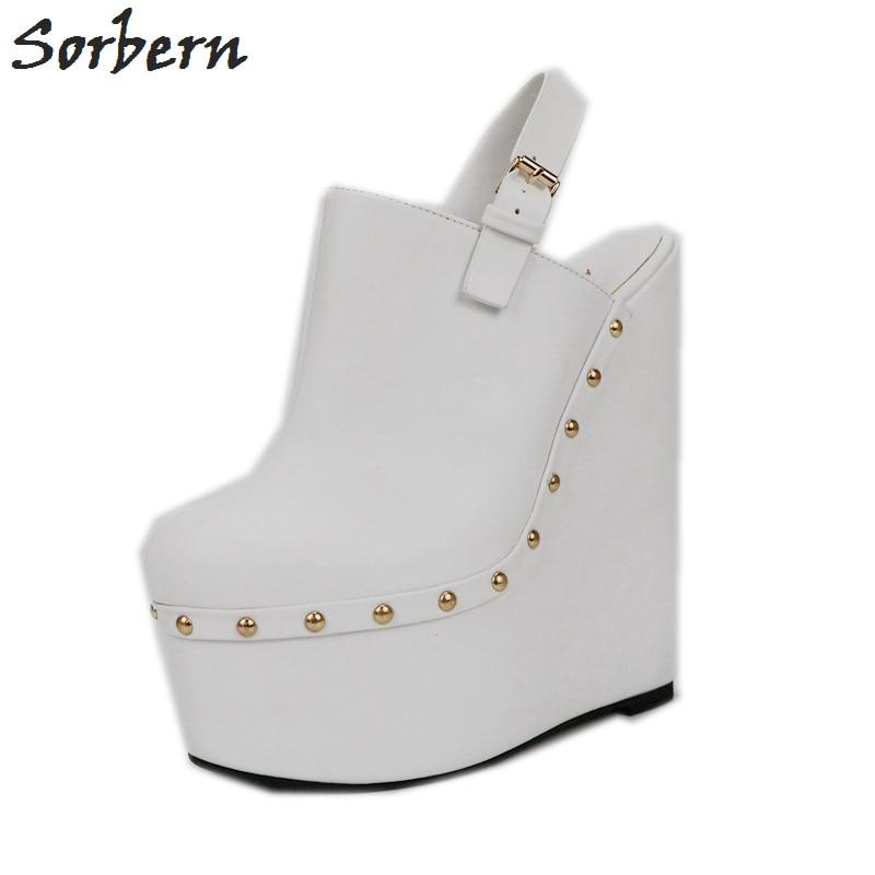 Sorbern White Heels Wedged Slingbacks 20Cm High Heels Women Pumps Open Back Thick Platform Shoes Ladies Platform Heels Fashions