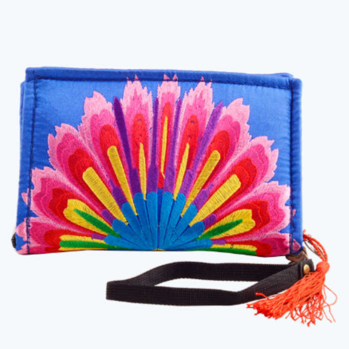 female National Boho Indian Thai Embroidered Wallet Clutch purse Bag Floral Long Design Canvas ethnic style Purse Card Holder
