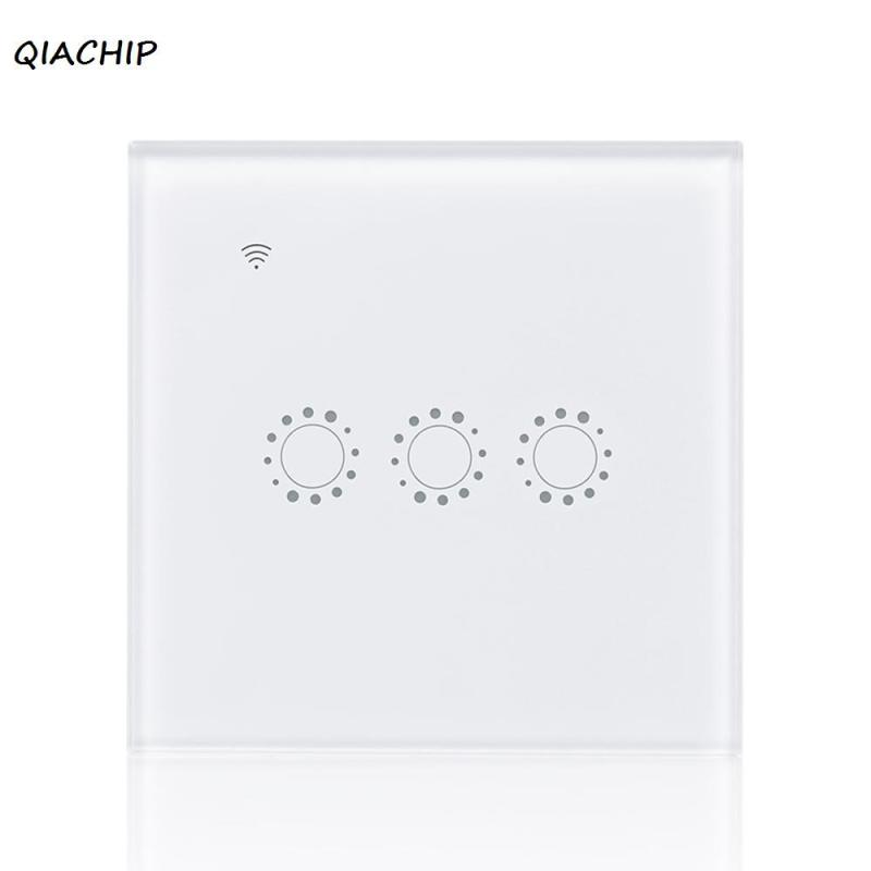 QIACHIP WiFi Smart Switch Touch Screen Panel 3 Gang light wall Wireless Timing Switch Remote Control Via APP For Smart Home H3 wireless wall touch switch control light panel eu sensor wifi on off 3 gang rf433 240v smart controller