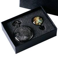 Vintage Doctor Who Theme Antique Style Quartz Pocket Watch Set With Dr. Who Symbols Necklace Pendant Gift Box