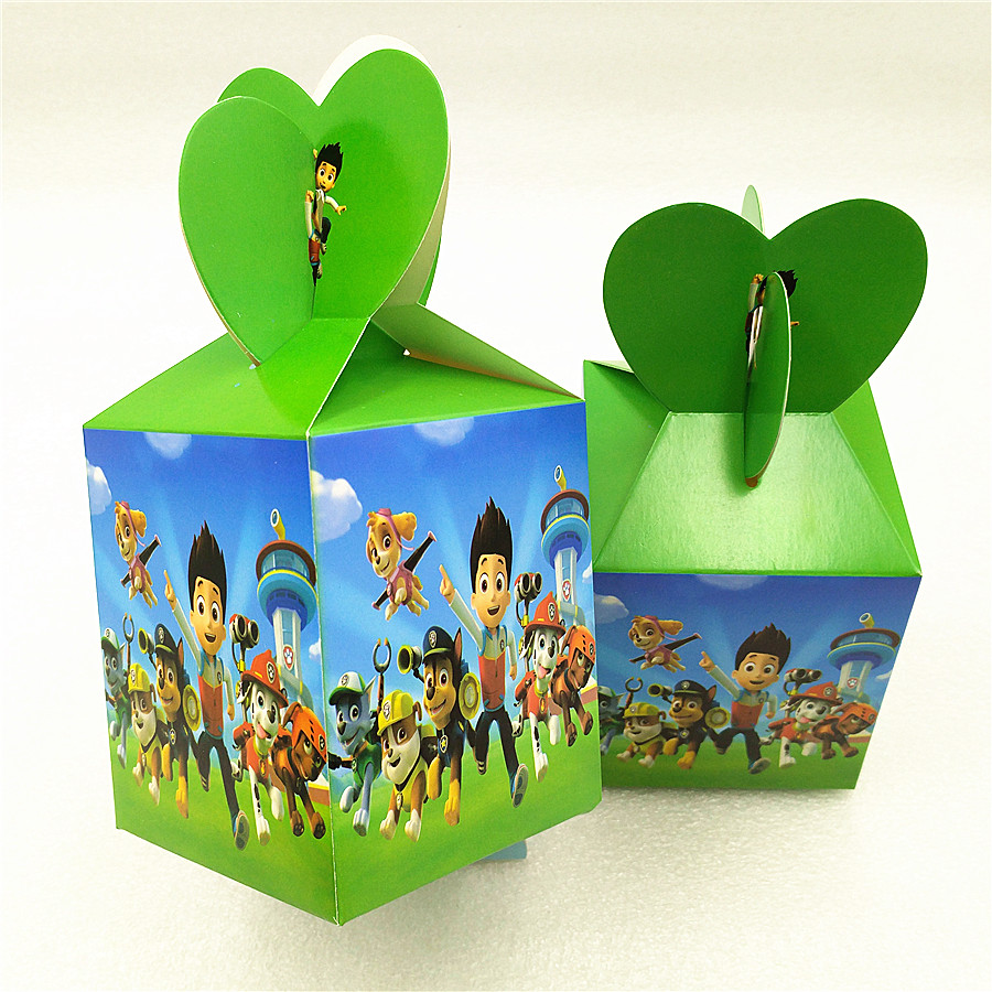 6pcs/set Puppy Patrol Candy Box Baby Birthday Party Decoration And Favors Event Party Supplies Favor Accessory