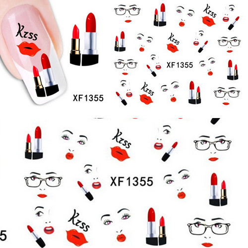 1 sheet Sexy Lips Kiss Design Nail Art Water Transfer Stickers Decals DIY Beauty Decal Nail Decoration Tools SAXF1355 kiss набор стикеров из страз nail artist metallic stickers