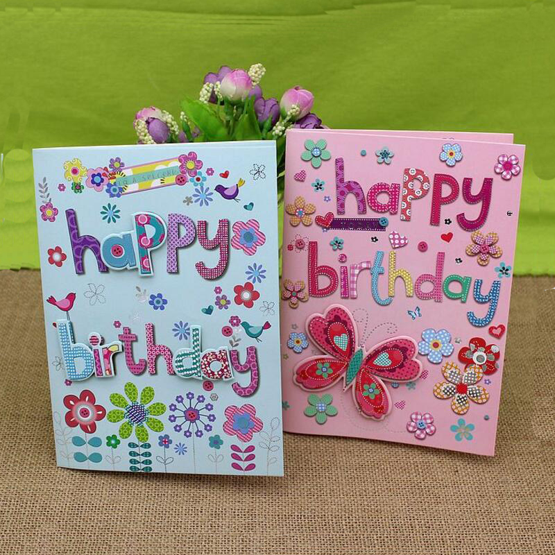 10pcs/lot 3D Letters Handmade Music Birthday Greeting Card