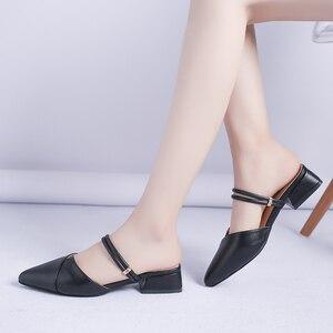 Image 5 - Женские туфли без задника, заостренный носок, закрытый блочный ремешок, квадратный каблук, туфли лодочки, шикарные, для вечеринок
