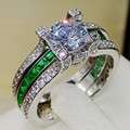 Size5-11 Luxury Jewelry Round Cut Topaz Princess Emerald Simulated Diamond 925 Sterling Silver Finger Women Rings ChristmasGift