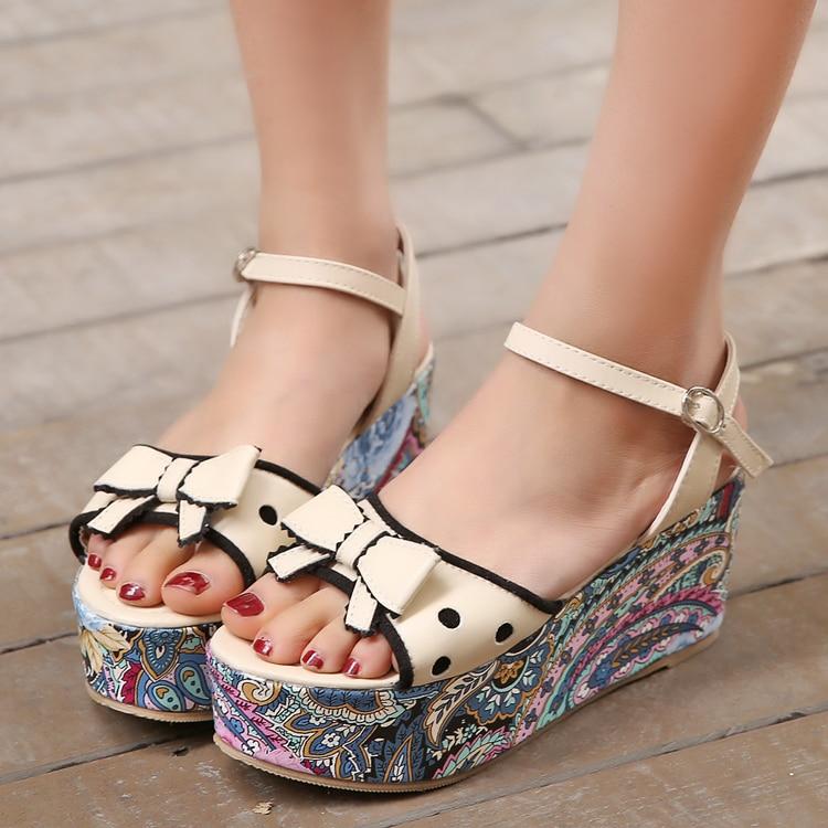 f1eda6e31bd 2014 summer new sweet cream colored sandals Women s Wedges High Heels  Platform sandals Thick bottom retro Flower pattern sandals-in Women s  Sandals from ...