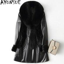 AYUNSUE Genuine Leather Jacket Women Real Sheepskin Coat Female 2018 Warm Winter Down Jackets Natural Fox Fur Collar WYQ1976