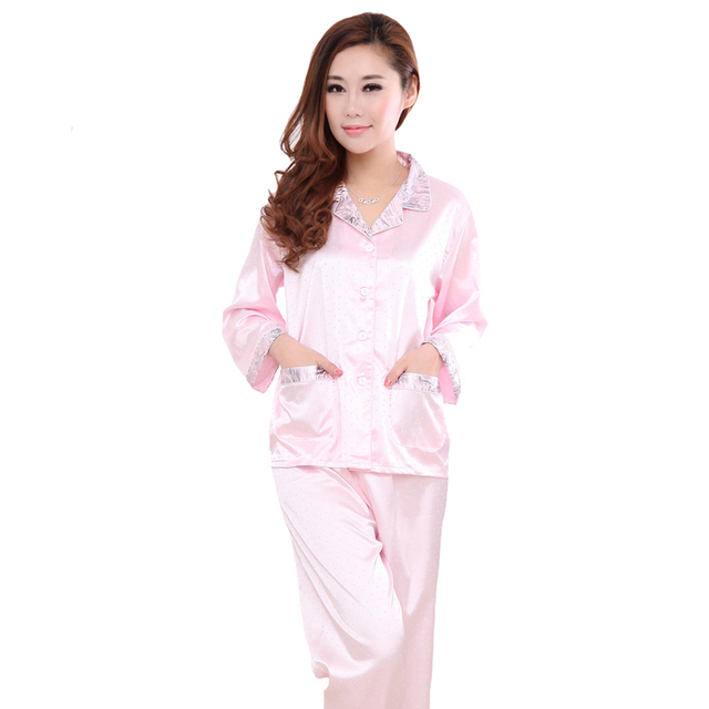 Women's 2PCS Rayon Polyester Loose Sleepwear Long Sleeve Shirt&Pant Pink Red Spring Autumn New Pajamas Set Size L XL XXL