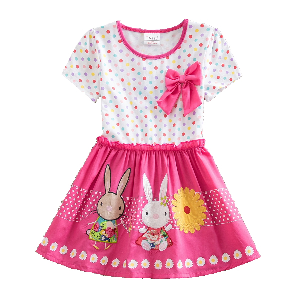 NEAT summer o-neck short sleeve dress cotton color wave point girl clothing bow decorative animal pattern cute girl dress SH4829