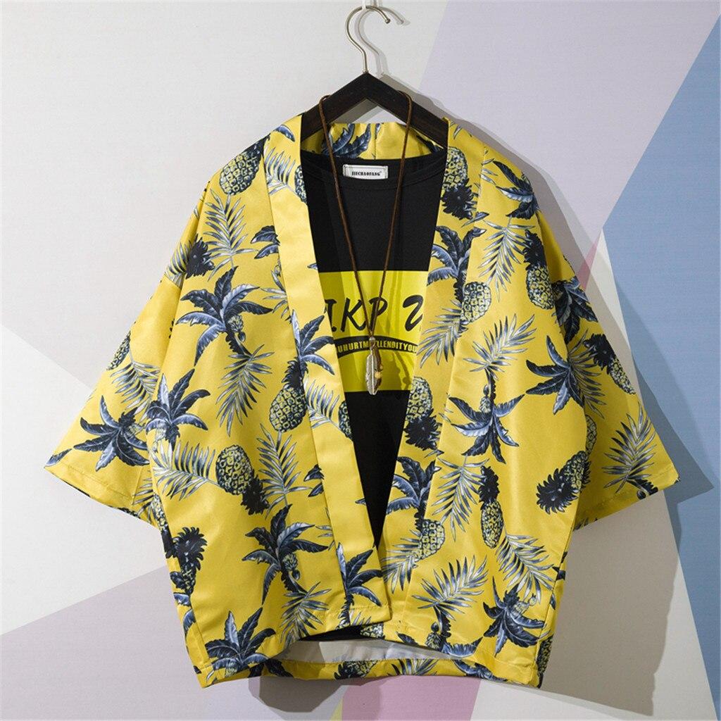 Рубашка мужская летняя рубашка Повседневная гавайская рубашка с принтом пляжные рубашки с отложным воротником топ с длинными рукавами муж...