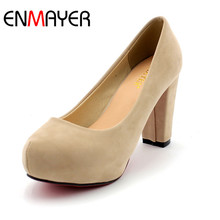 ENMAYER Fashion Wedding Pumps Sexy High Heel Shoes Brand Design Red Bottom Platform Pumps Hot Women Party Shoes Big Size(China)