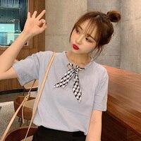 Korean Women's T shirt Fashion Tshirt Women Plaid Bow Loose Short Sleeve T shirt Female T Shirt Harajuku