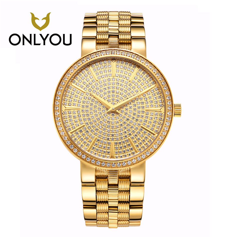 ONLYOU All steel gold ultra thin bracelet watches 2017 Hot women's fashion watch ladies Full Rhinestones Watch women Clock quart onlyou fashion hot sell man all steel watches 2017 diamond bracelet business watch black gold white luxury famous male clock