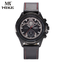 MK Mike Sport Watch Men Military Watch Wrist Watch Genuine Leather Strap Waterproof Unique Dial Design