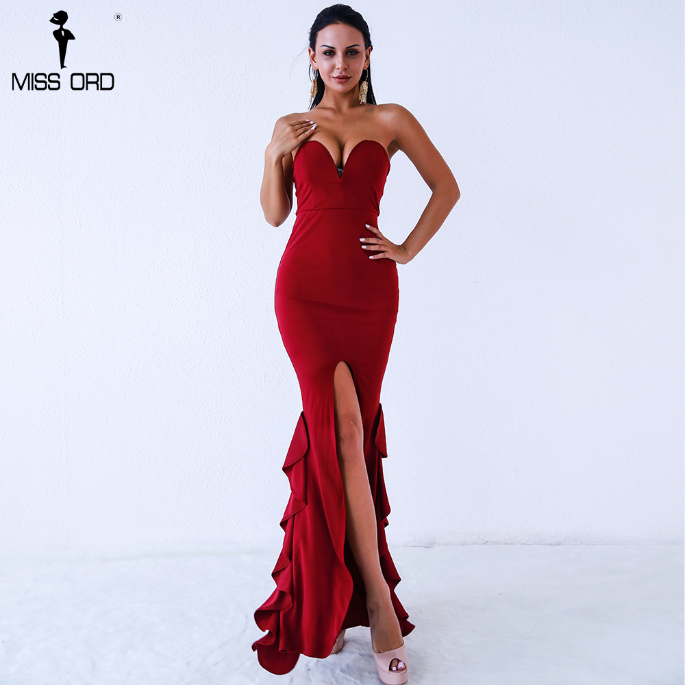 Missord 2018 Sexy sleeveless backless strapless drap maxi dress FT18301