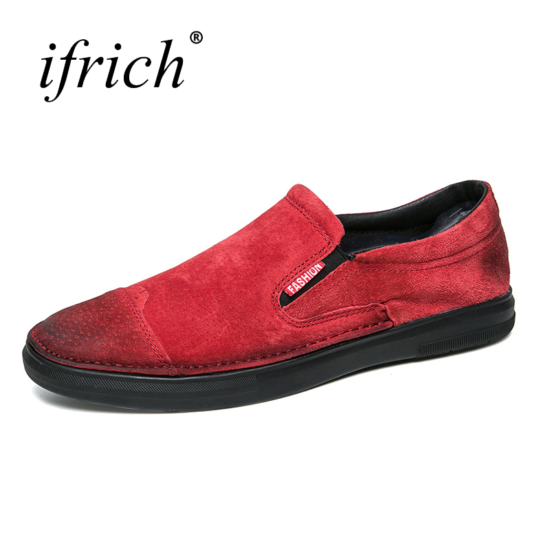 Ifrich 2018 New Arrival Men Fashion Shoes Black Red Male Luxury Flat Shoes Loafers Comfortable Slip on Men Casual Footwears casio mcw 100h 3a