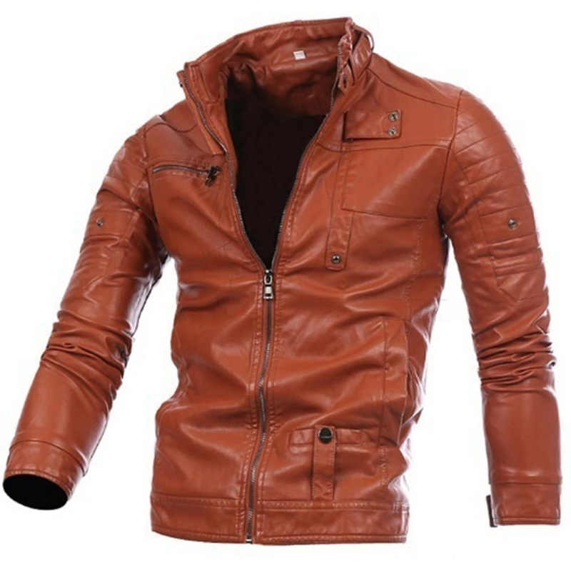 Zogaa уличная мода мужские куртки с длинными рукавами мужские кожаные куртки с застежкой-молнией на пуговицах мужская мотоциклетная мужская куртка верхняя одежда