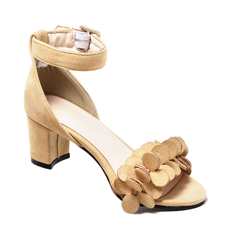 1e3ca9828424 Fanyuan Latest designs Summer high Block heel Sandals women elegant Solid  Buckle strap with Flower Wedding bridal Peep toe shoes-in High Heels from  Shoes on ...