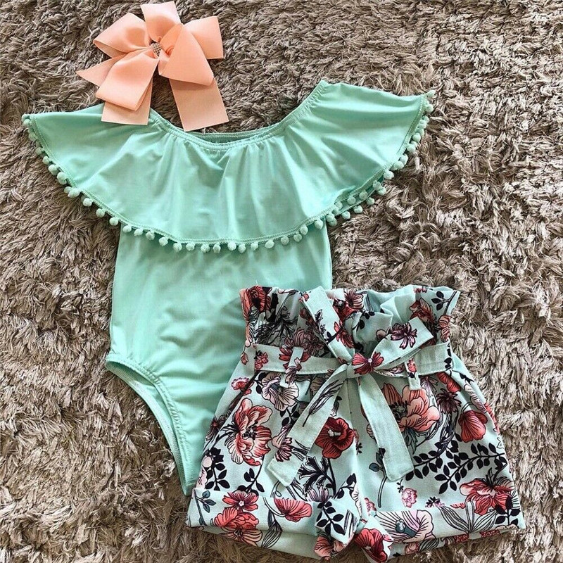 Sweet 0-18M Newly Summer Kids Baby Girls Clothes 2PCS Sets Tassel Short Sleeve Romper Tops Flowers Lace Up Shorts Clothes