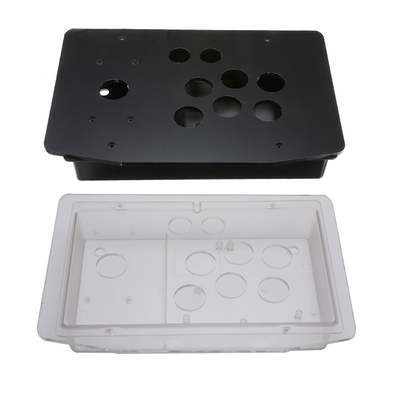 DIY Clear Black Arcade Joystick Replacement Acrylic Panel Case  Handle Arcade Game Kit Sturdy Construction Easy to Install