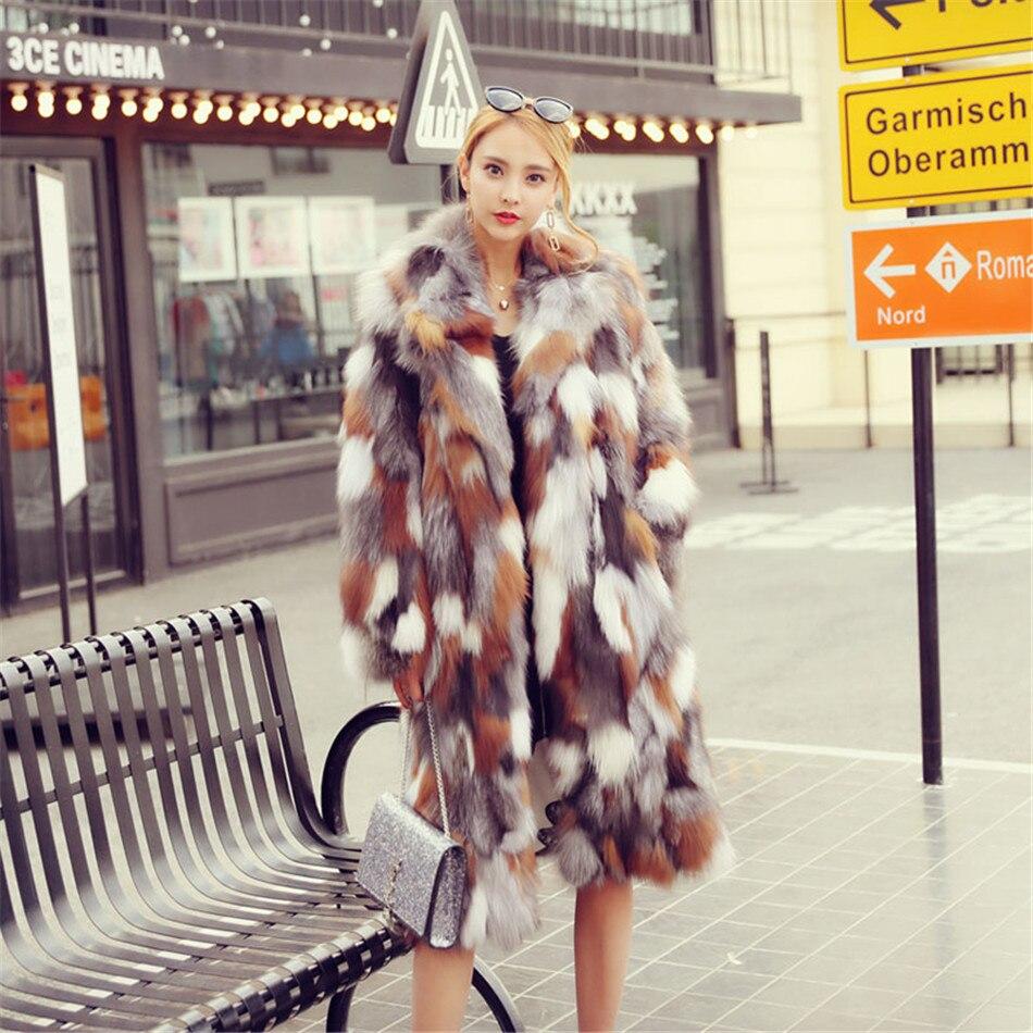 全身パッチワーク赤キツネの毛皮白いキツネの毛皮シルバーフォックス毛皮のコートスーツターンダウン襟長い毛皮のコート生き抜くプラスサイズ