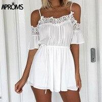 Aproms Casual White Crochet Lace Off Shoulder Jumpsuit Romper Summer Beach Flare Sleeve Chiffon Playsuit Women