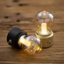 LED Bulb Night Light Retro USB 5V Rechargeable Battery Mood Luminaire Writing Desk Table Lights Portable Bedside Lamp