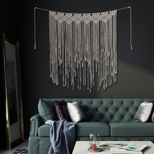 Nordic wind pure hand-woven fringed cotton tapestry bohemian wedding background bedroom bedside living room wall Tapestry soft