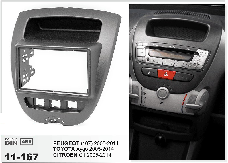 11-167 car radio Fascia Frame stereo install trim installation 2-DIN dash kit for PEUGEOT (107) 2005-2014 TOYOTA Aygo CITROEN C1