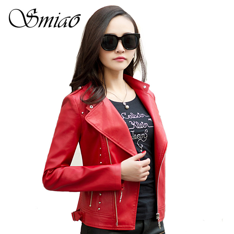 Smiao Autumn Women Faux   Leather   Jacket 2018 O-Neck Long Sleeve Soft Faux   Leather   Outerwear Plus Size Red/Black Coat Hot L-3XL