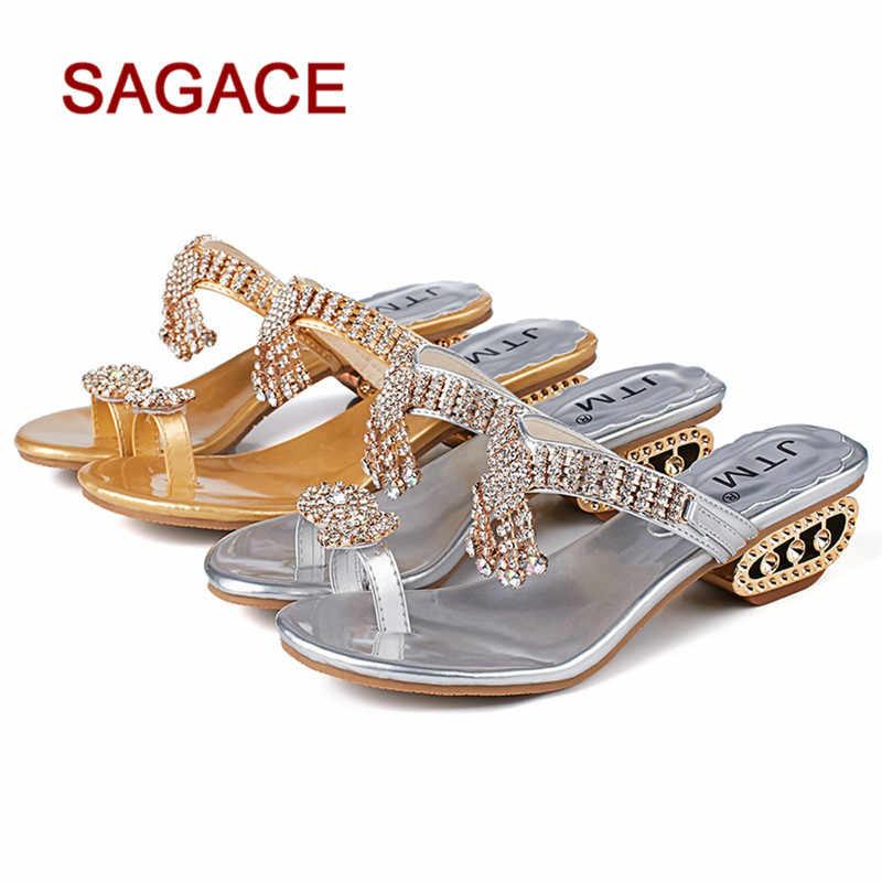 6fb7906cd8d005 GGHB Women Sandals Flip Flop Fashion Rhinestone Wedges Shoes Crystal High  Heels Shoes