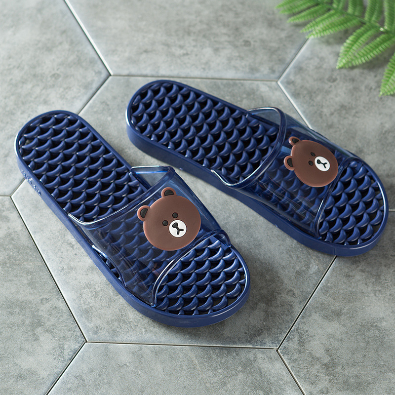 2018 beach slippers men home summer new men's slippers transparent bear pattern male anti-skid wear-resistant shoes direct sales 2