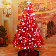 Teellook Christmas tree 1.8 m / 180cm big red decorated package encryption scene layout