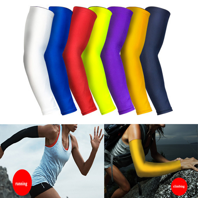 Wenyujh 1pcs Breathable Quick Dry Arm Sleeves Uv Protection Compression Running Basketball Elbow Pad Fitness Sports Arm Warmers Men's Arm Warmers