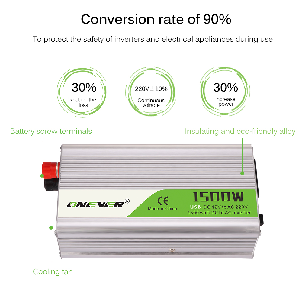 Home Electronic Accessories Capable Onever 2000w Car Power Inverter Converter Dc 12v To Ac 220v Modified Sine Wave Power With Ac Outlets And 2.1a Usb Charger