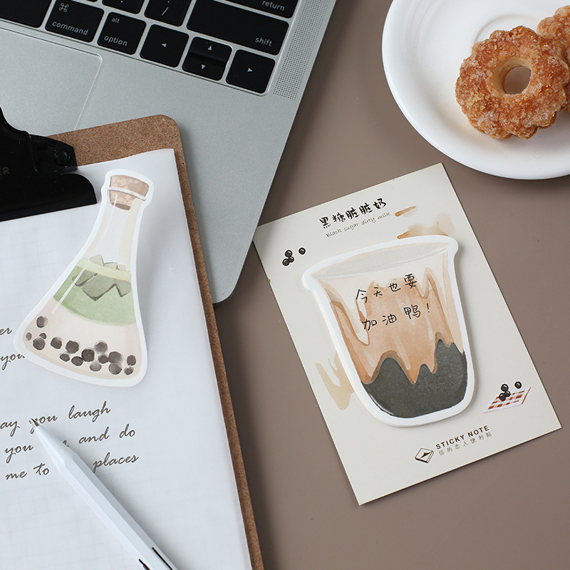 8 Pcs Nice Drink Sticky Note Fruit Bottle Coffee Kiwi Memo Pad Planner Stickers Marker Stationery Office School Supplies A6134