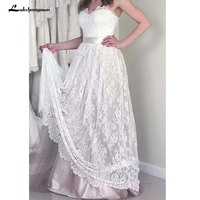 Vintage Lace Boho Wedding Dress Sweetheart Bohemian Bridal Gowns vestido de noiva Plus Size