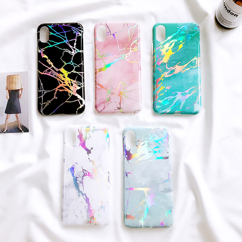 Laser Marble Texture Phone Iphone XR XS Max X 6 6S 7 8 Plus Soft IMD Protective Phone Back Cover Coque