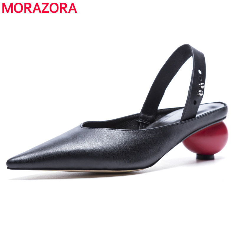 MORAZORA 2018 newest fashion genuine leather shoes women sandals pointed toe slingback mid heel party wedding shoes white black cocoafoal woamn patent leather sandals fashion heel height black white wedding shoes sexy genuine leather pointed toe sandals
