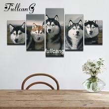 FULLCANG Diy 5PCS Full Square Diamond Embroidery Animals Wolf Friend Painting Cross Stitch 5D Mosaic Needlework D943
