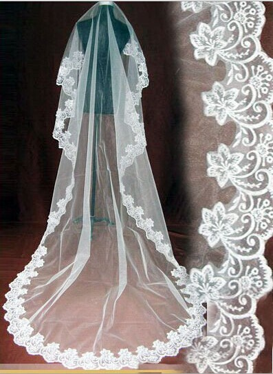 veu de noiva 2017 White/Ivory Cheap Wedding Veil Wedding Accessories Lace Bridal Veil 3 Meters