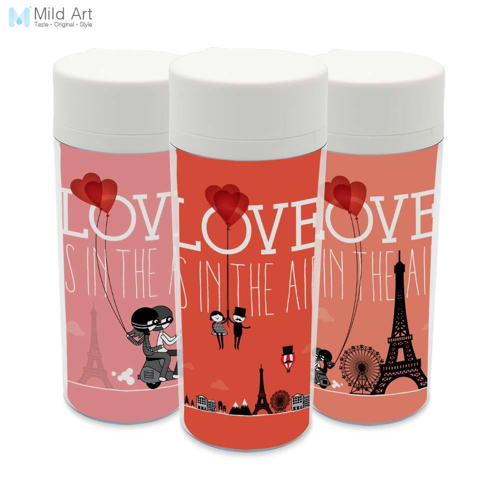 Clear Personalized Wide Mouth Modern BPA Free With Lid Plastic Insulated Romantic Love Paris City Water Bottles 300ml Gifts
