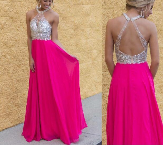 A-line   Prom     Dresses   2017 Halter Sleeveless Backless Sweep Train Chiffon with Crystal Long Evening Gowns Sexy Party   Dresses   2016