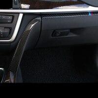 Carbon Fiber Car Styling Interior Copilot Glove Box Handle Decoration Cover Trim Stickers For BMW 3