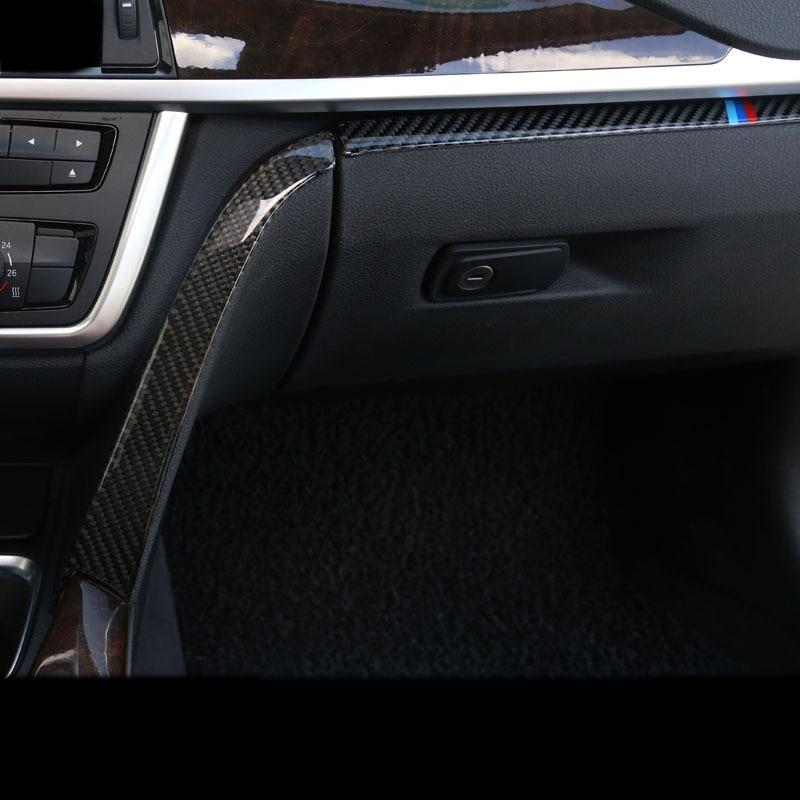 Carbon Fiber Car styling font b interior b font Copilot Glove box handle decoration cover trim