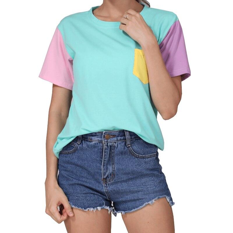 Estilo de verano de las mujeres de la moda Harajuku Patchwork T camisas Kawaii de algodón Casual de Color de hechizo Tops Patchwork BTS camiseta, envío de la gota