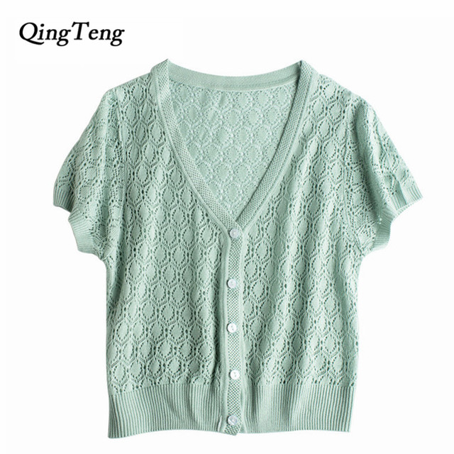 Aliexpress.com : Buy QingTeng Summer Short Sleeve Thin Cardigan ...