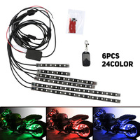 Hot 8PCS / 6PCS 12V RGB LED 5050SMD Car Motorcycle Glow Lights Flexible Neon Strips Kit Frame With Remote Controller Light Strip