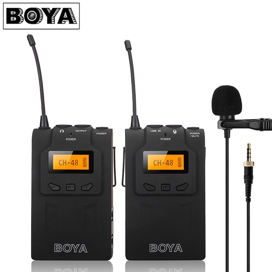 BOYA BY-WM6 UHF Omni-directional Lavalier Microphone Ultra High Frequency 48 Channel for Canon DSLR for Sony Camera Camcorders boya by wm5 lavalier clip on mic audio studio recorder wireless microphone microfone for canon sony gopro dslr camera camcorder
