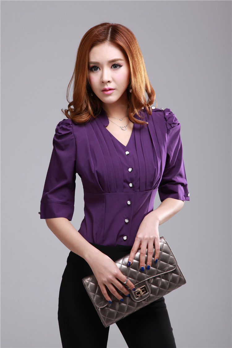New Arrival Half Sleeve Elegant Purple Women's Summer Blouses Slim ...